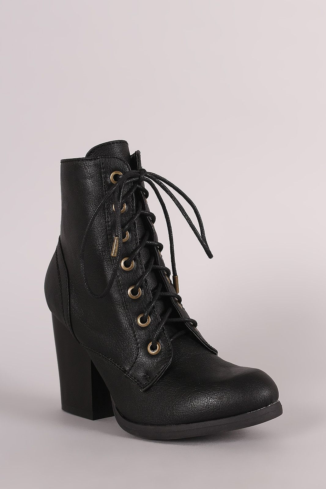 e27382417c86 Bamboo Chunky Heeled Combat Lace-Up Ankle Boots