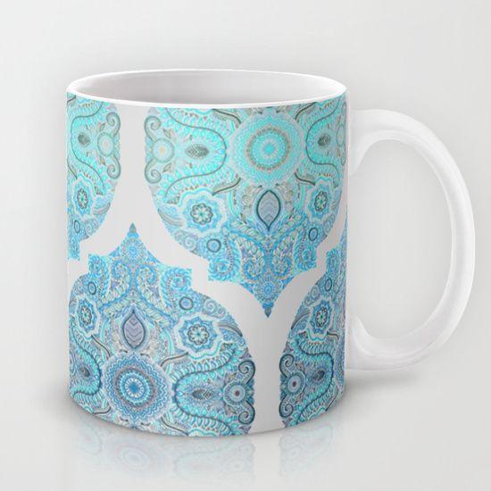 Through Ocean & Sky - turquoise & blue Moroccan pattern Mug