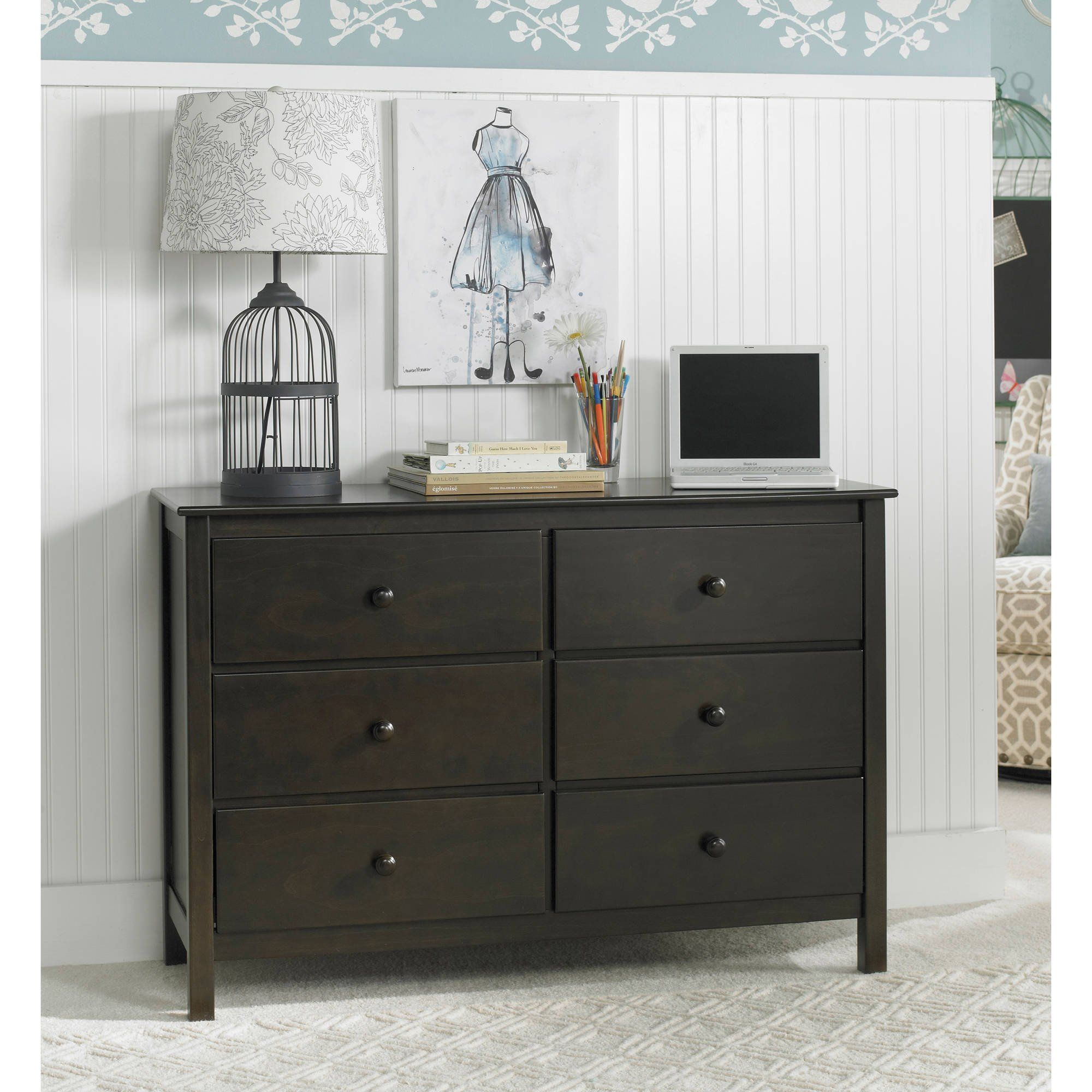 FPE 6 Drawer Double Dresser Choose Your Finish And Hardware Dark  RoastNickel Spacious Drawers Euro Drawer Glides Easy To Assemble Antitip Kit  Easy Assemble Dresser Y85