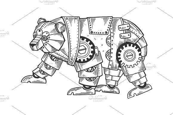Mechanical bear animal engraving | Steampunk coloring ...
