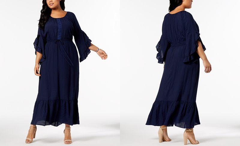 b09fd43ebf2 NY Collection Plus   Petite Plus Size Crochet-Trim Peasant Maxi Dress -  Dresses - Plus Sizes - Macy s
