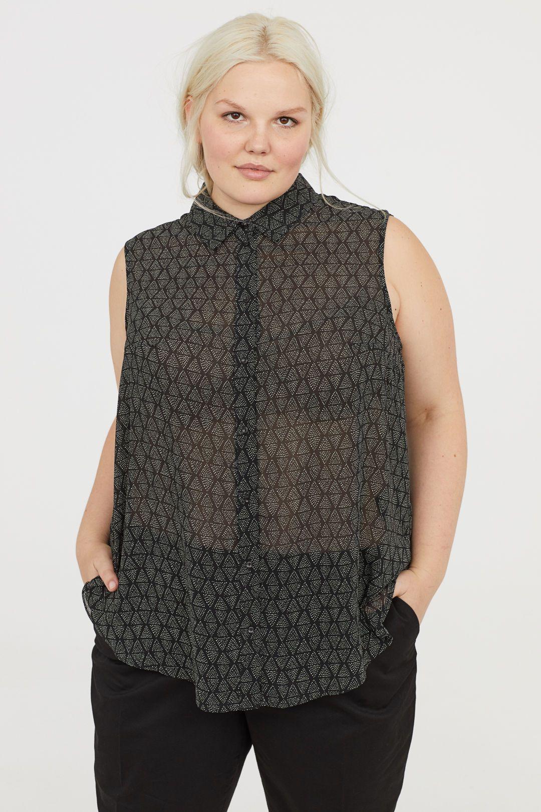 dd72f4e2f2aa4 H M+ Sleeveless Blouse - Black patterned - Ladies