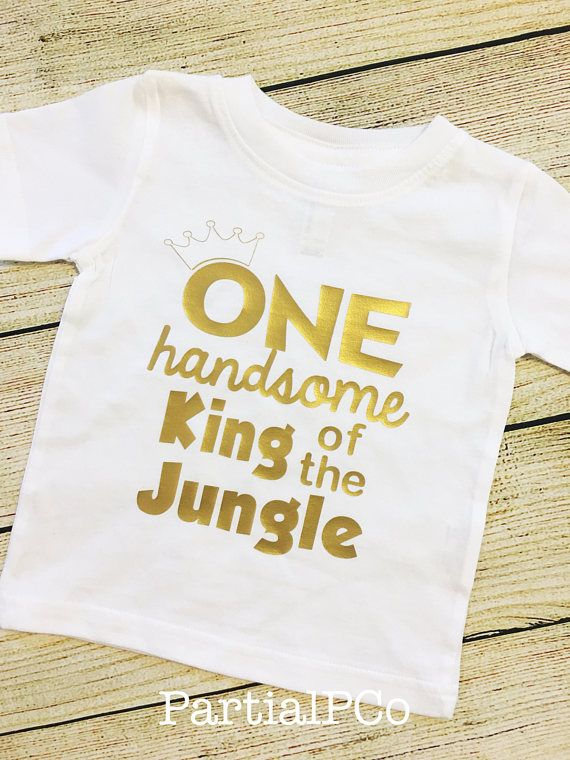 ONE Handsome King Of The Jungle First Birthday Shirt Smash