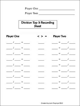 Everyday Math Top It Recording Sheets Everyday Math Recording Sheets Second Grade Math