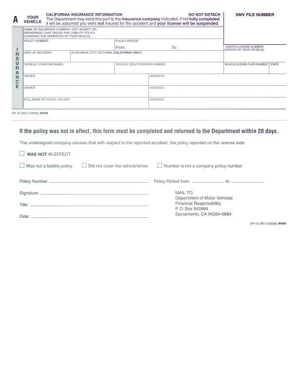 DMV Form SR-1 | CA DMV Form SR 1 Online