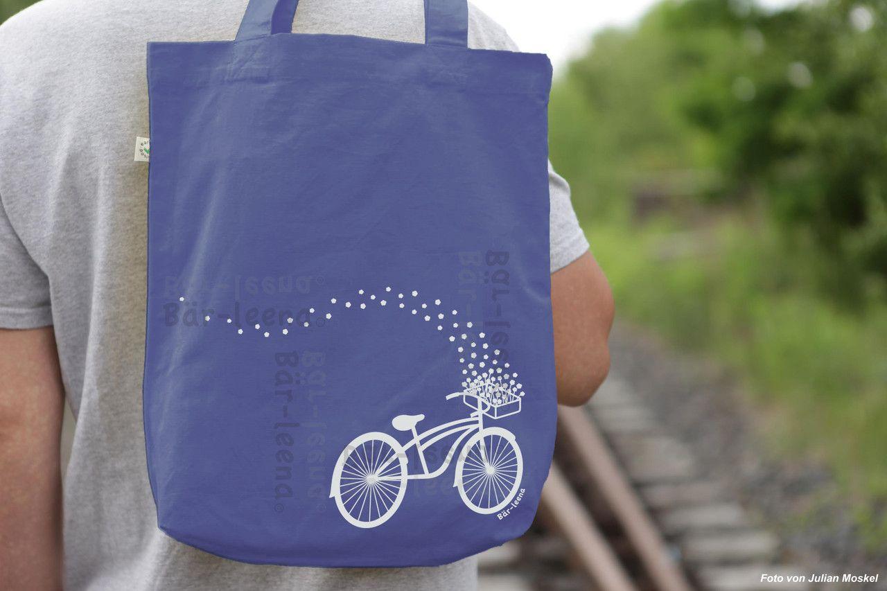 Stoffbeutel Fahrrad in Denim Blau   Bike Tote Bag in Denim Blue