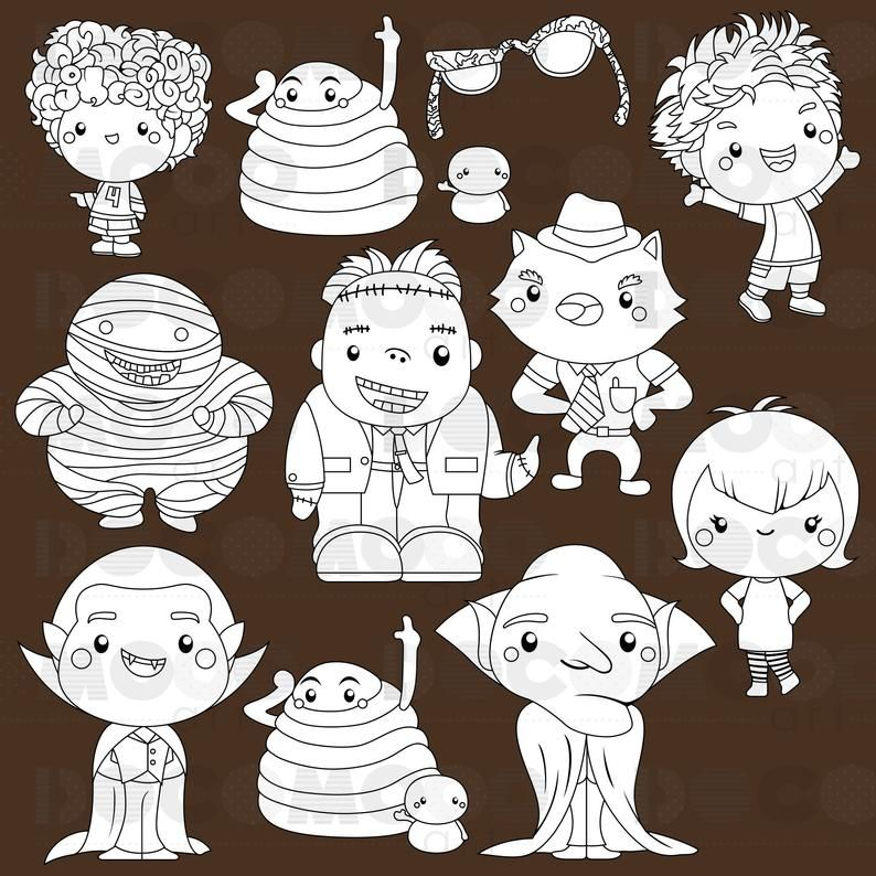 Monster Hotel Clipart Black And White Cute Monster Free Etsy Clip Art Clipart Black And White Cute Monsters