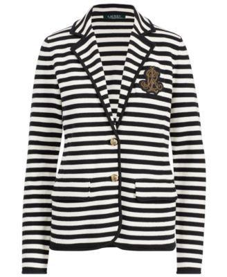 25d6d2931b08f9 Lauren Ralph Lauren Striped Bullion Knit Blazer - Black Parchment ...