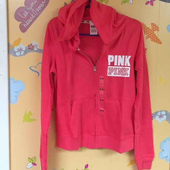NWT-  PINK full zip hoodie  New With Tags- NO TRADES - fast shipping- PONK - Victoria's Secret PINK Victoria's Secret Sweaters