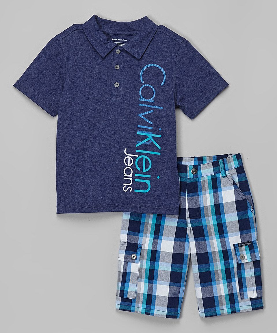 Another great find on #zulily! Navy Vertical-Logo Polo & Plaid Shorts - Infant, Toddler & Boys by Calvin Klein Jeans #zulilyfinds