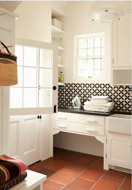nice laundry room, terra cotta tile floor, dutch door