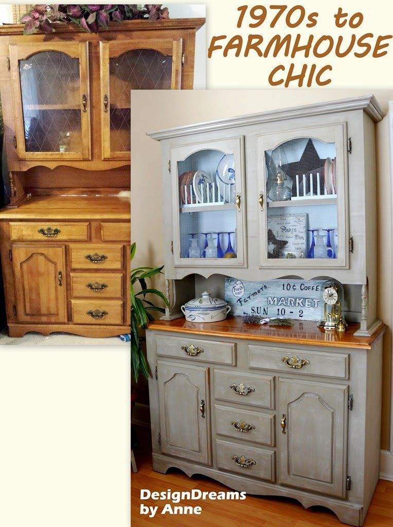 Farmhouse China Cabinet Makeover Home Decor Painted Furniture The Very Dark Before With Lighter Brighter After