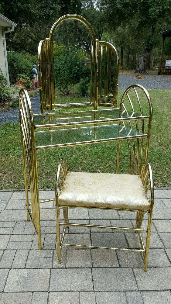 Vintage mcm art deco gold metal vanity make up table seat trifold ...