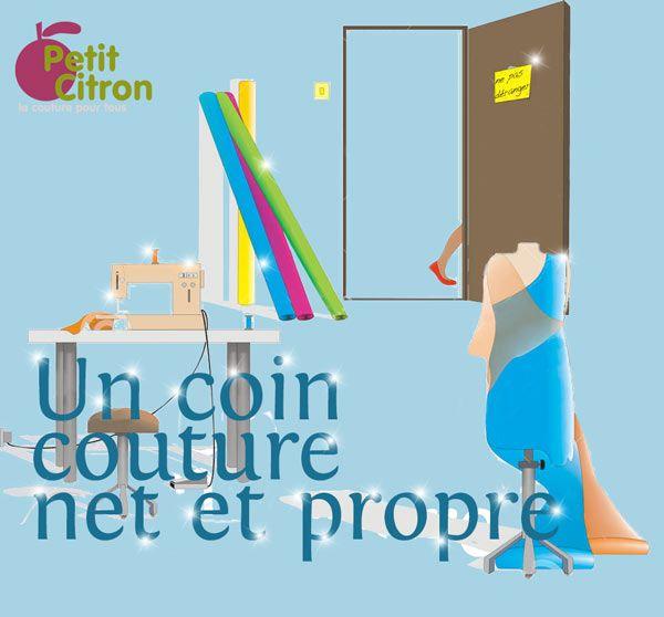 Un atelier de couture net et propre petit fils aspirateurs et coins - Maison couture et fils ...