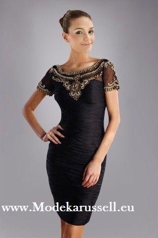 Kurzes Schwarzes Chiffon Cocktailkleid mit Perlen | Kleider | Pinterest