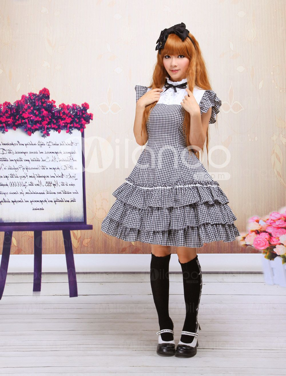 Black And White Checked Short Sleeves Gothic Lolita Dress - Milanoo.com