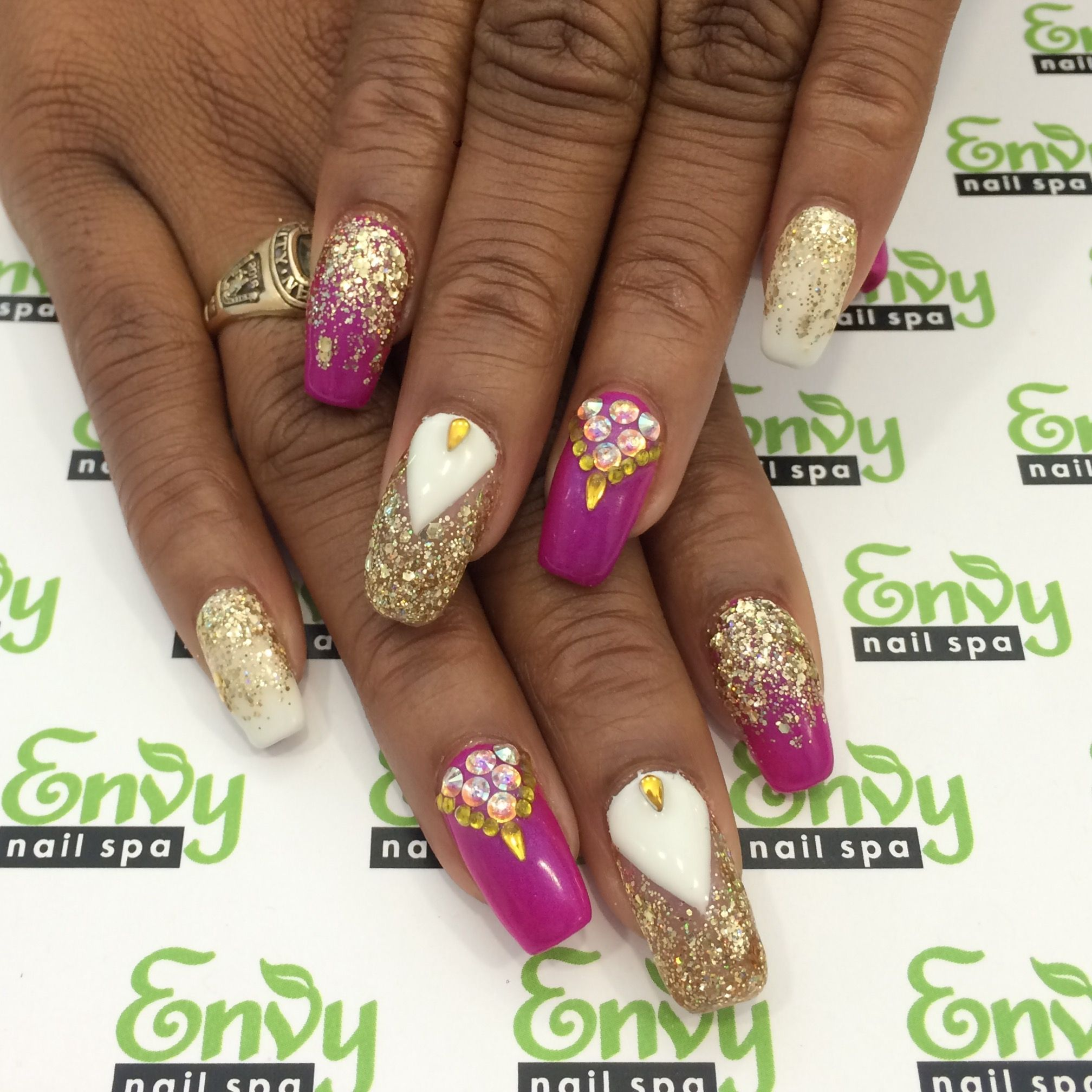 Abstract, Gold Glitter, Purple, White, Swarovski Crystal Nails ...