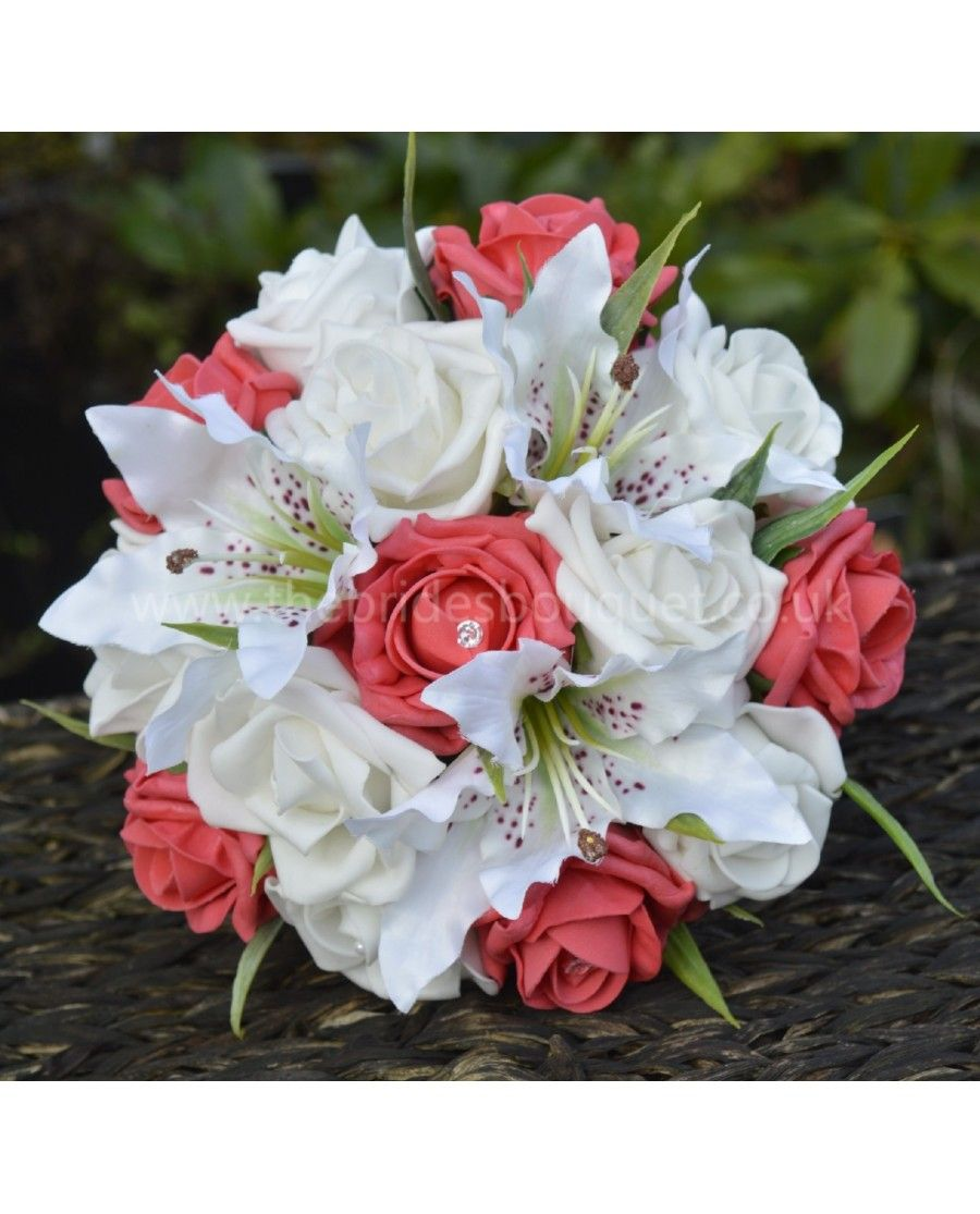 Tiger Lily And Rose Bridal Bouquet Of Silk Lilies With Any Colour