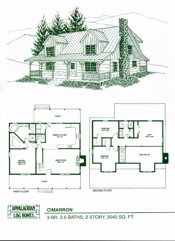 Cimarron 3 Bed 2 5 Bath 2 Stories 2040 Sq Ft Appalachian Log Timber Homes Hybrid Home F Log Cabin Floor Plans Cabin Floor Plans Log Home Floor Plans