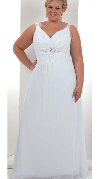 Faddish Empire V-neck Floor-Length Court Beaded Plus Size Wedding Dresses