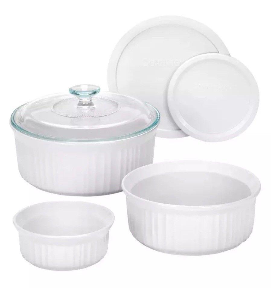 Corningware 6 Piece Round Ceramic Casserole Bakeware Set W Lids