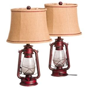 Give Your Home A Classic Feel With This Metal White River Oil Lantern Table Lamp Set Featuring An Antique Red Finish In 2021 Lantern Table Lamp Oil Lantern Lamp Sets