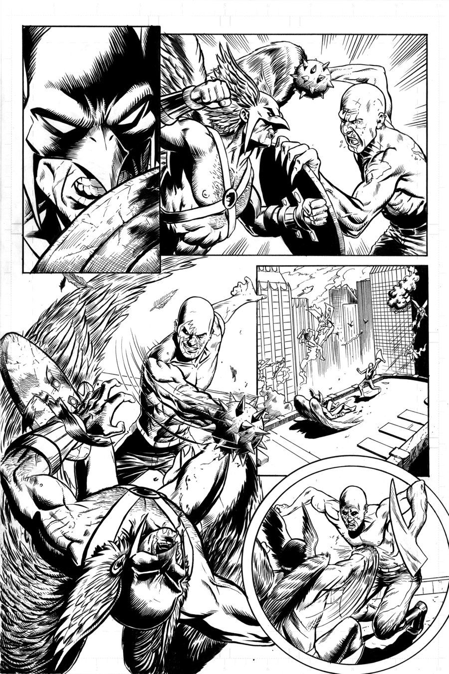 Hawkman Page 1 Inks by craigcermak on DeviantArt | LineArt ...