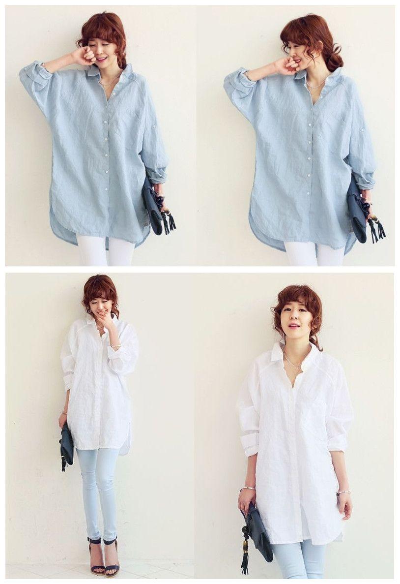 2ce0d688 New Casual Women Baggy Blouse Long Sleeve Button Shirt Blue blau ...