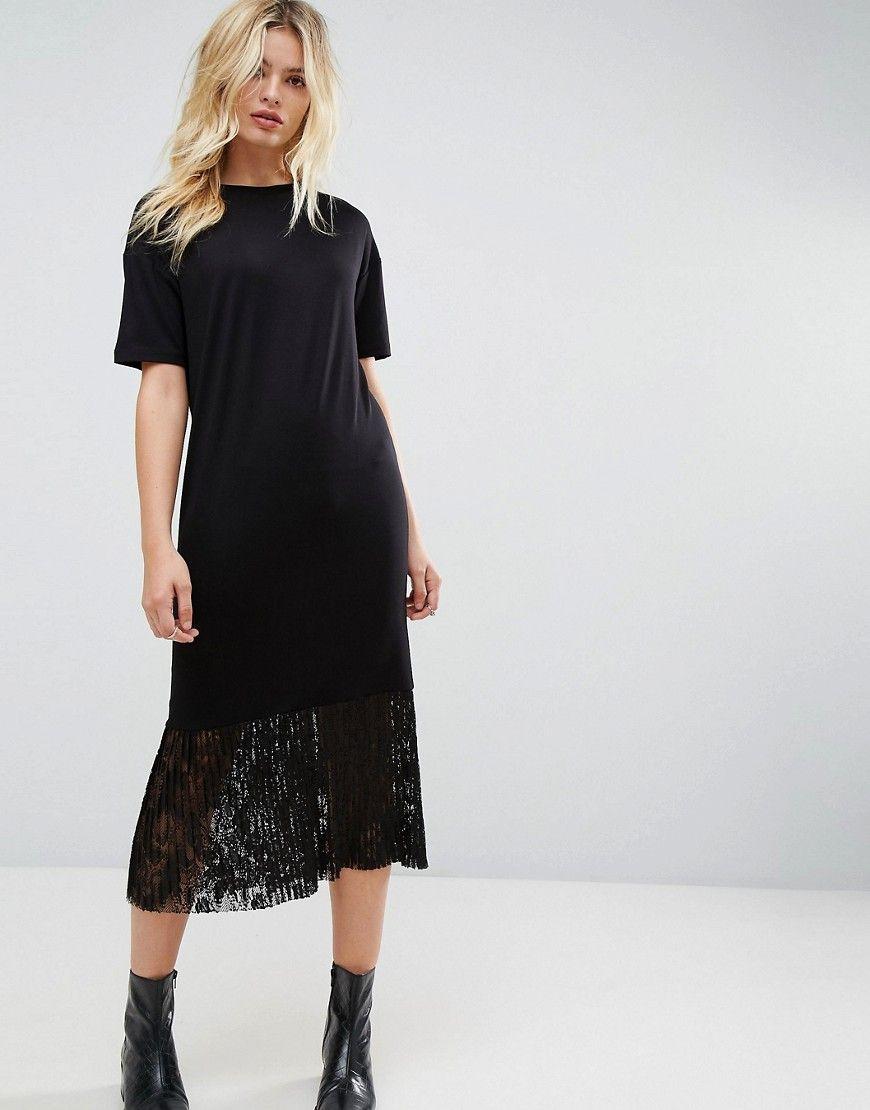b708785058 ASOS Midi T-Shirt Dress with Pleated Lace Hem - Black