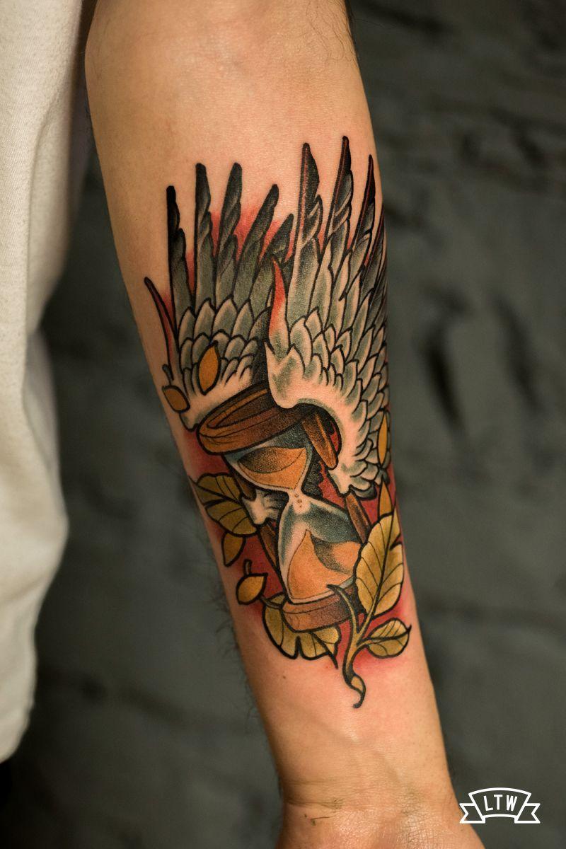 Traditional Roses And Hourglass Tattoo Forearm Samuele