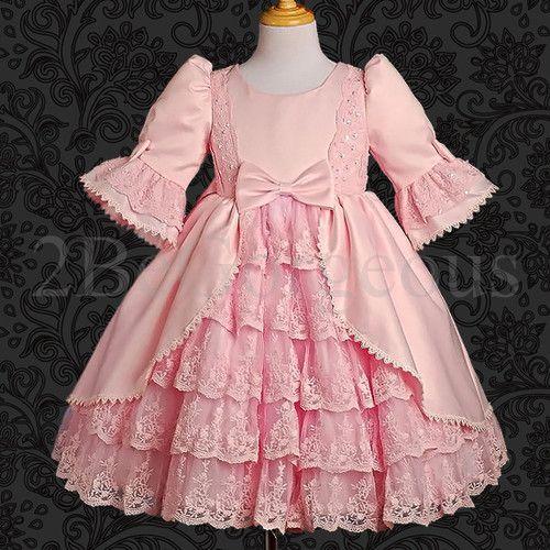 Satin & Lace Dress Wedding Flower Girl Bridesmaid Communion Party Size 1-9y 003 | eBay