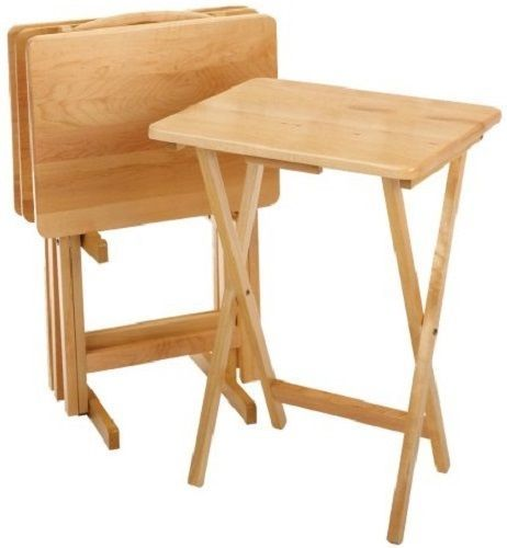 Winsome Wood 5-Piece TV #Table Set Solid Beechwood #Folding Snack ...