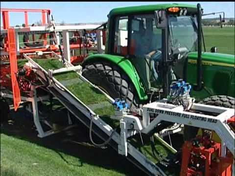 YouTube Video: The Trebro AutoSlab II is a single operator, fully automatic, slabbing turf harvester designed to reduce labor costs and improve harvesting efficiency. Slabs of turf are picked up and stacked by a hydraulically powered hook system that is gentle on the turf and produces tight stable pallets.       The AutoSlab II comes complete with a John Deere...
