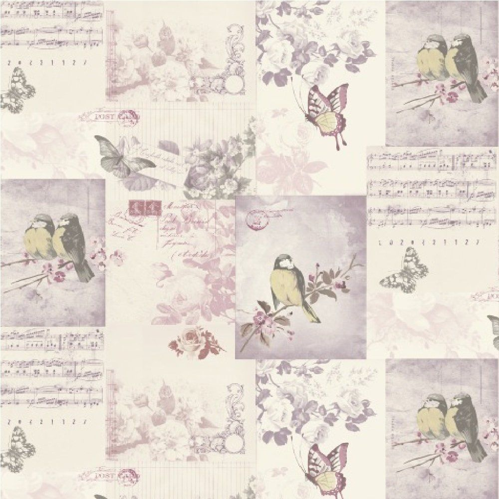Shabby Chic Bedroom Wallpaper Shabby Chic Vintage Bird Cage Wallpaper Mauve Blue Pink Patchwork