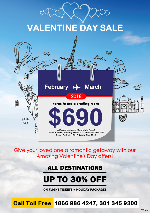 Cheap flights for valentines day