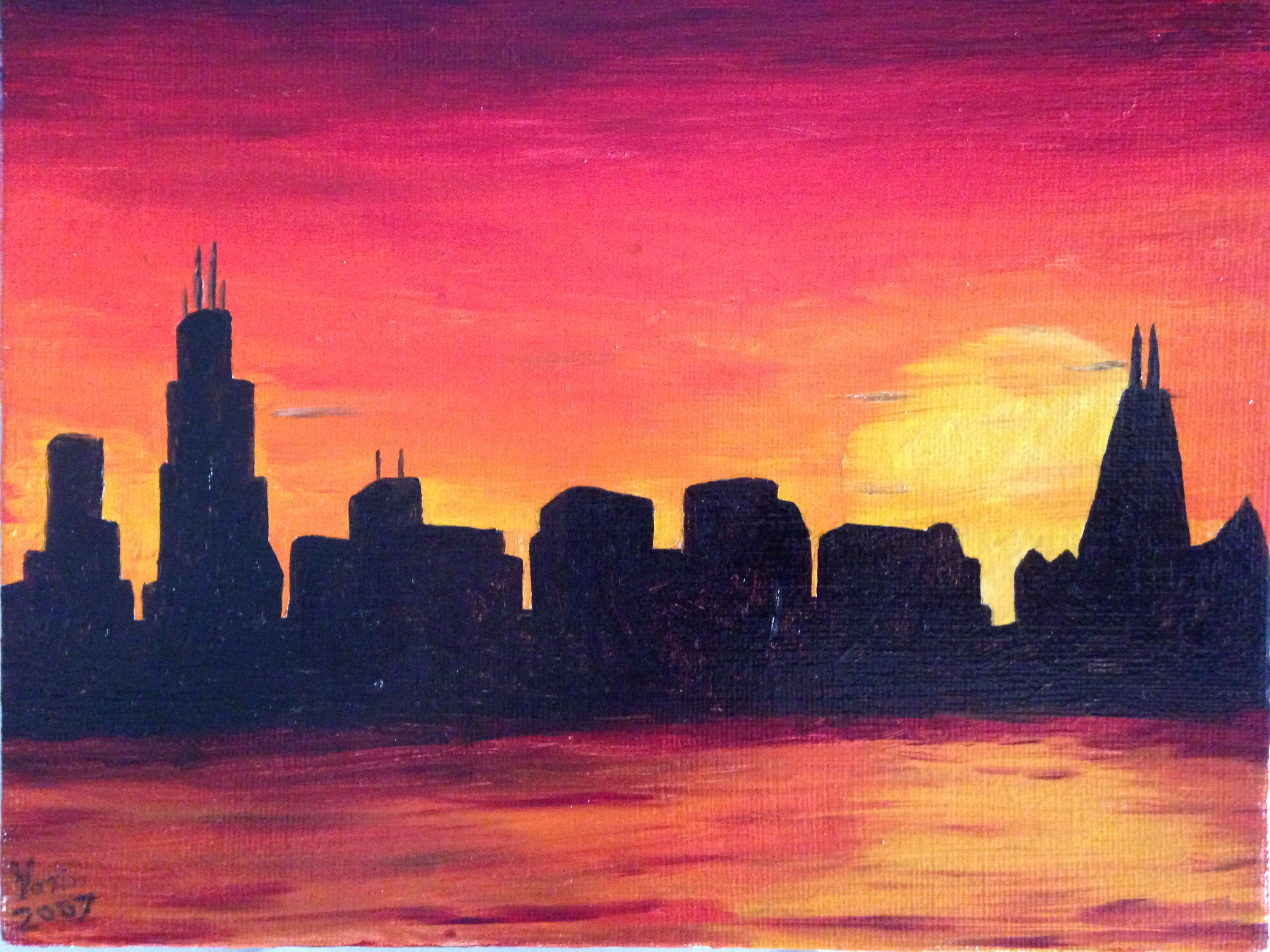 Chicago skyline at sunset by local cary il artist vasili