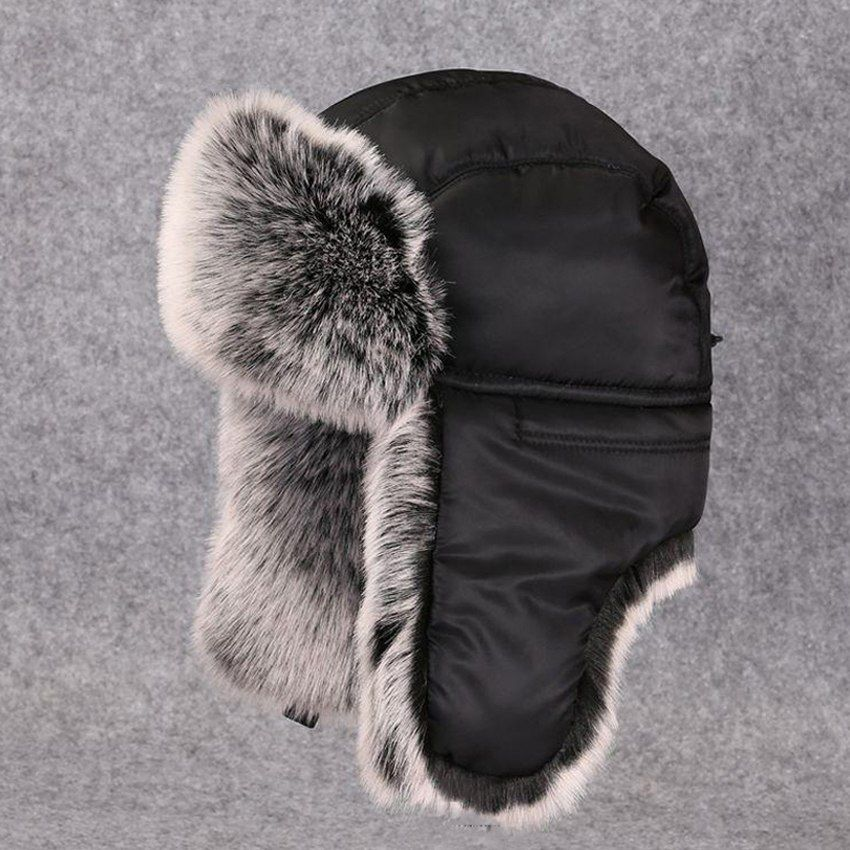 cb4e21c50089c Winter Men Ushanka Fluffy Faux Fur Russian Hats Bomber Trapper Hat Warm  Earflap Snow Ski Caps