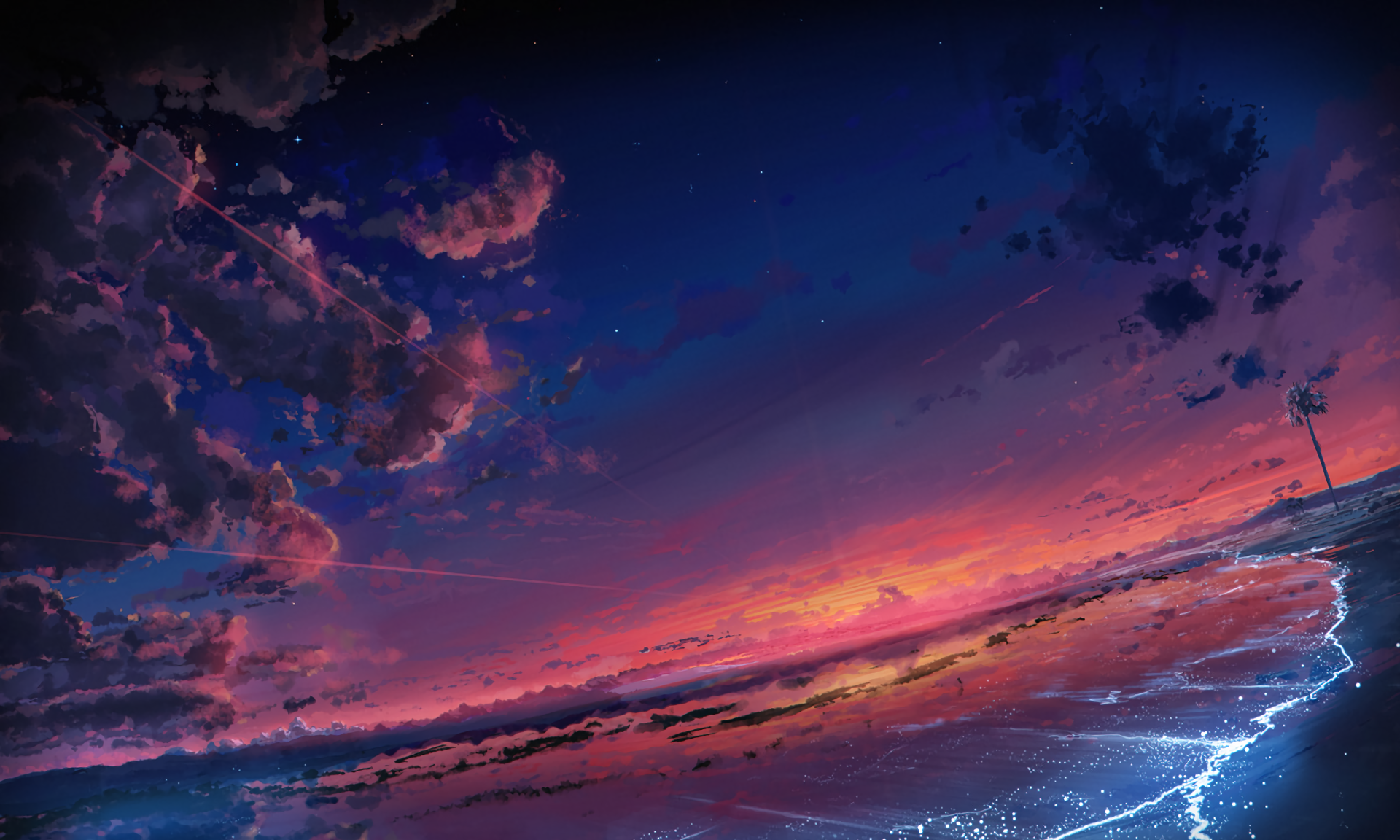 Anime Original Sky Cloud Scenic Beach Sunset Wallpaper