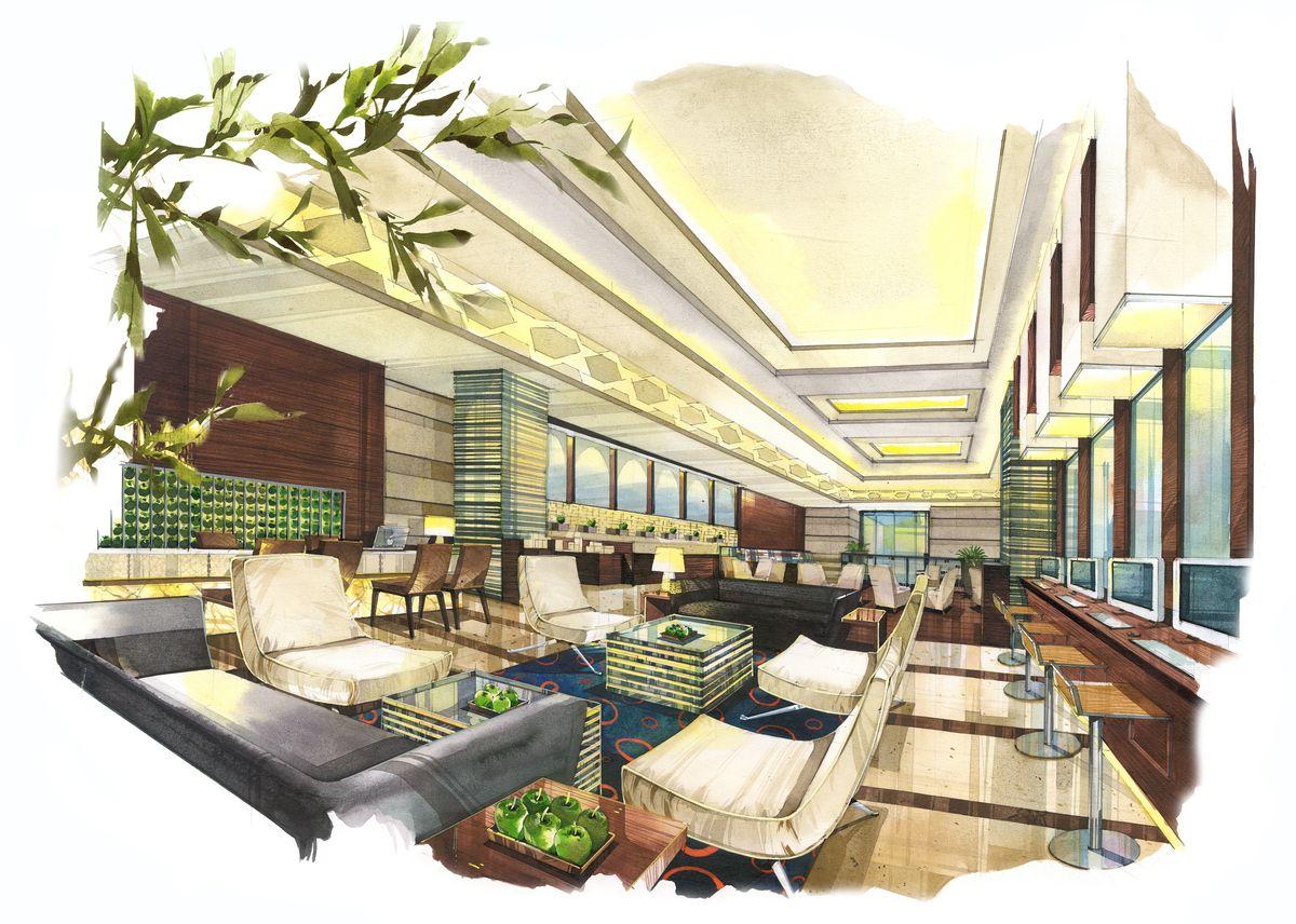 Business Lounge Coffee Shop Rendering Interior DesignInterior