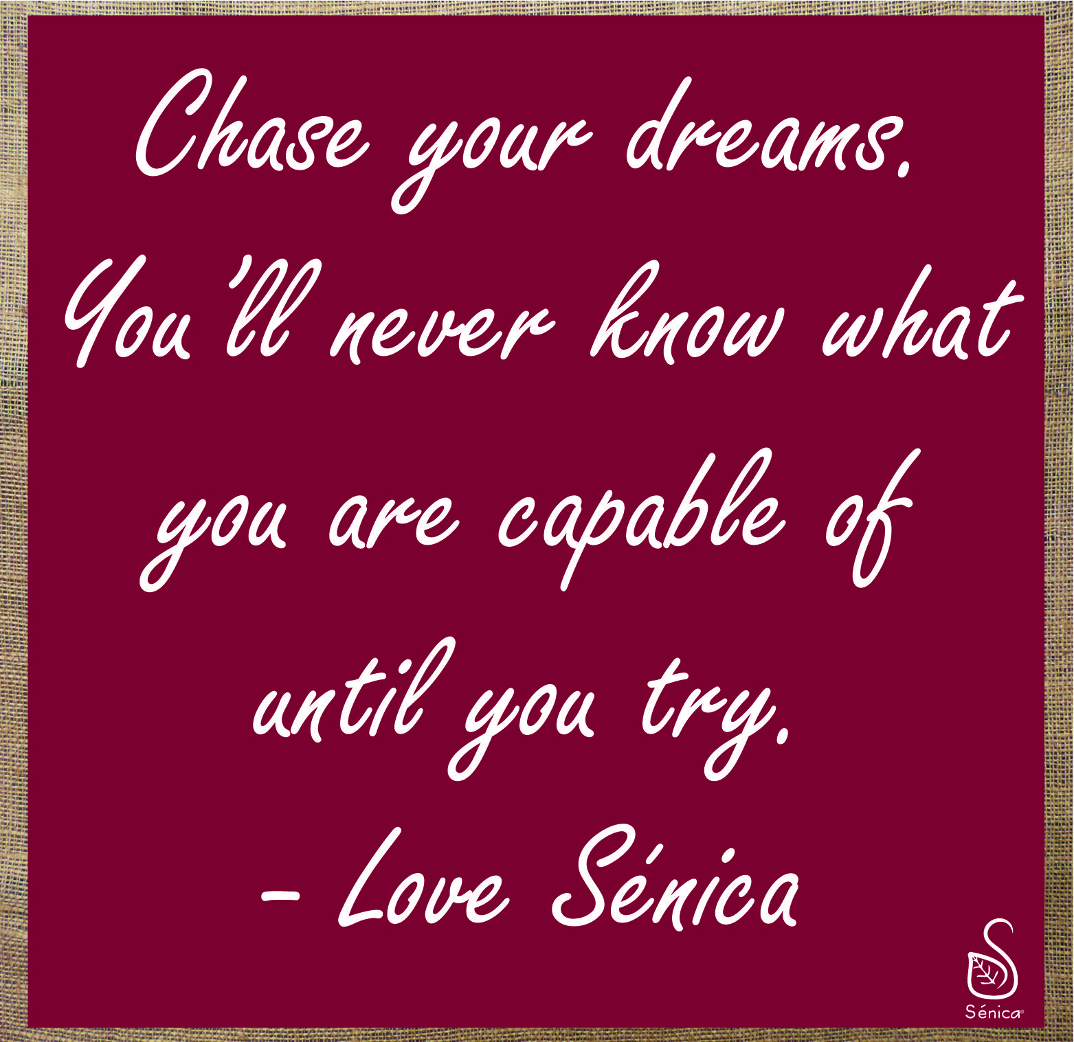 Chase.Your.Dreams. #inspiration #senicasays #reviveyourlife #pushyourself #motivation