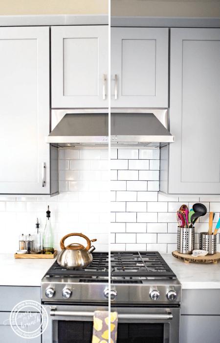 Backsplash Tile Refresh How To Make White Tile Pop For Under 20 Never Skip Brunch Kitchen Backsplash Designs White Subway Tile Kitchen Kitchen Remodel