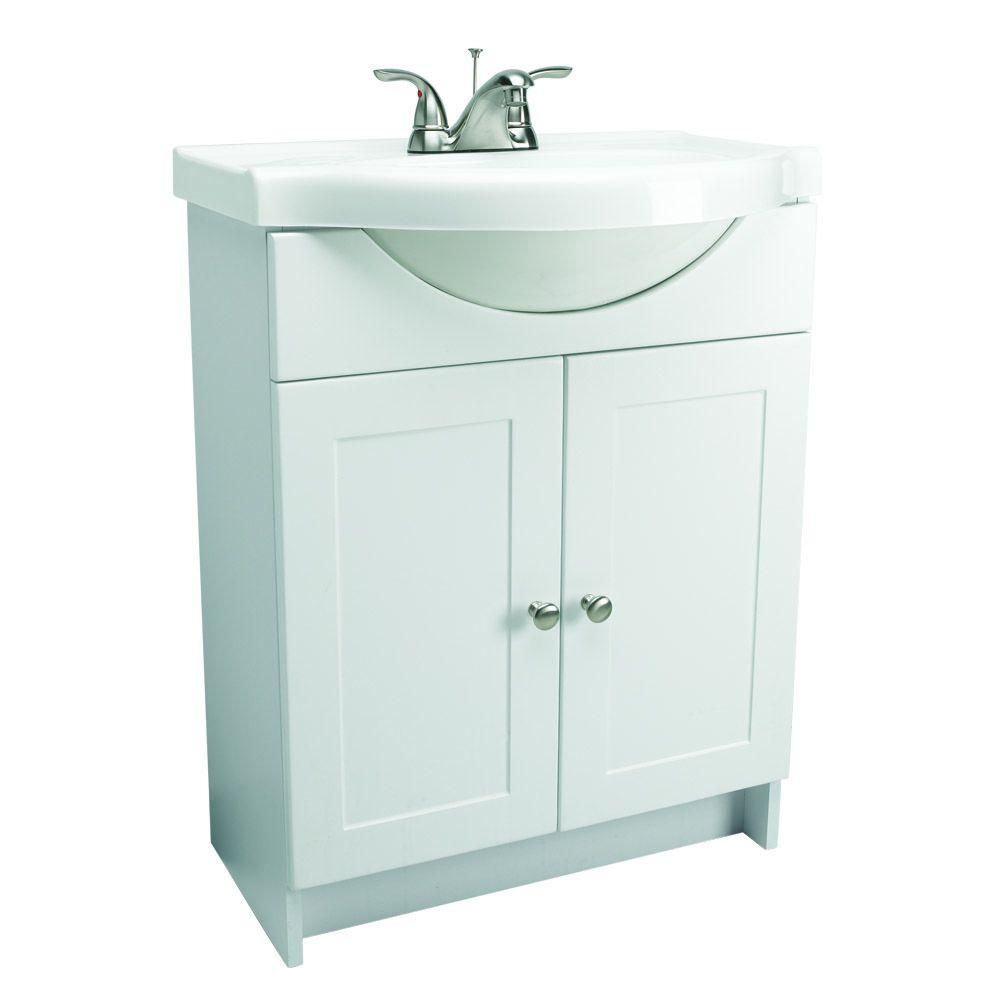 Euro Style Vanity In White With Cultured Marble Belly Bowl