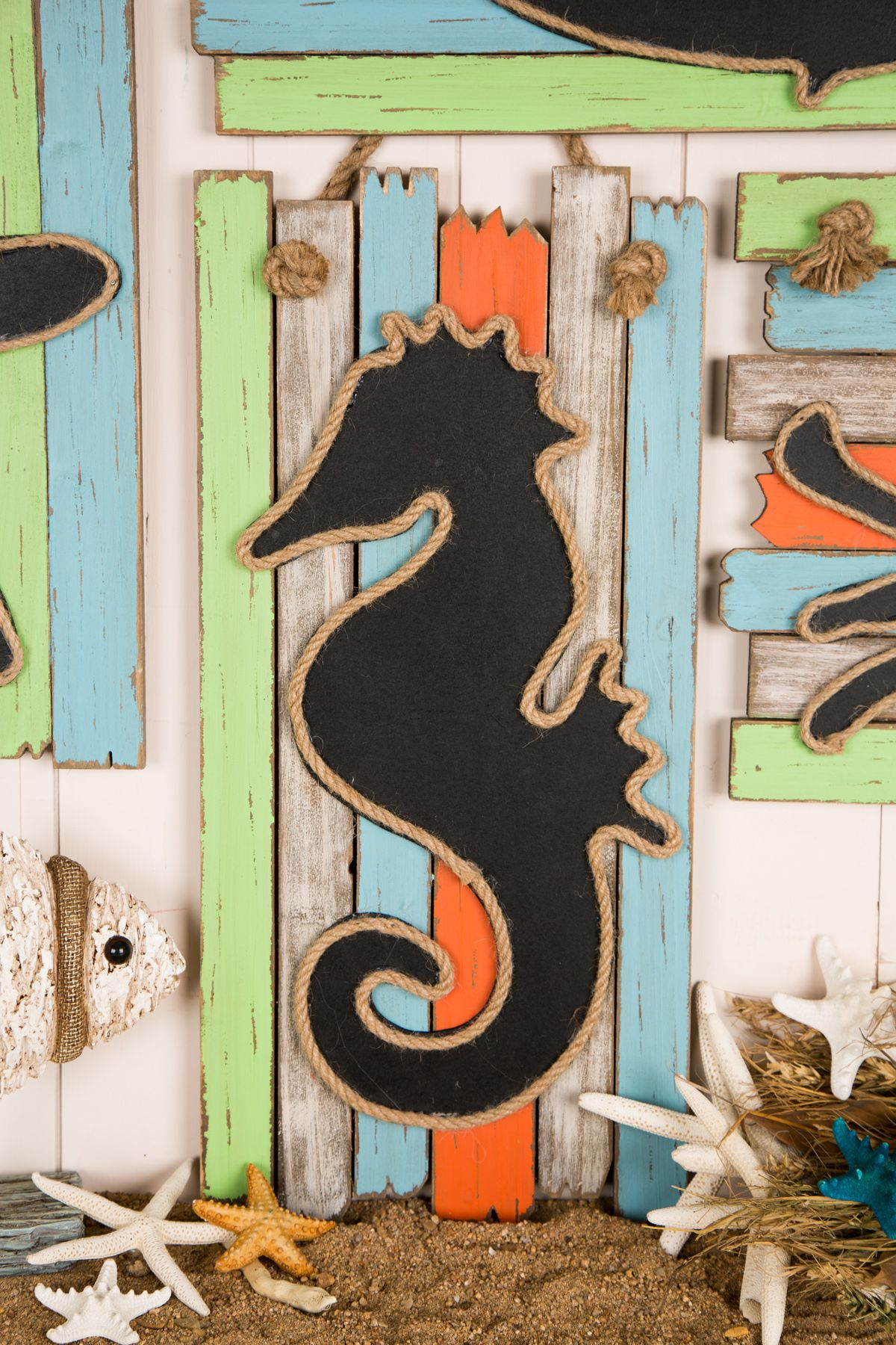 Wooden Sea Horse Chalkboard Rope Sign