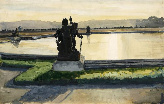 Alexandre Benois (Russian-French, 1870 - 1960)   Pond in Versailles, N/D