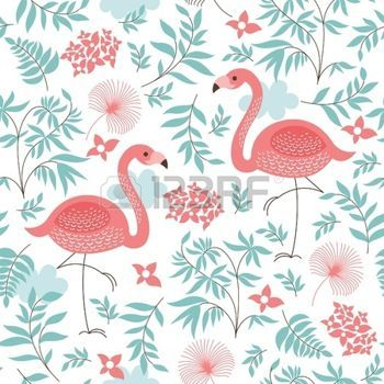 motif fleur: seamless, avec un flamant rose illustration