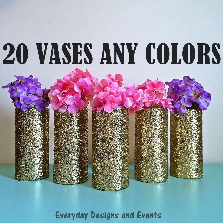 20 Vases Bulk Discount Gold Glass Wedding Centerpiece Shower