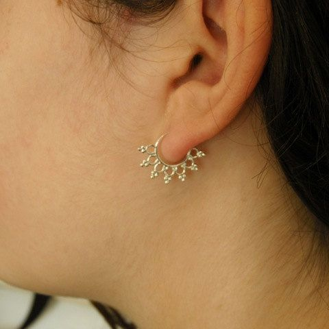 This Antique Indian Style Septum Is Made Of Sterling Silver And Decorated With Small For Pierced Nose Can Be Worn On The Ear As Well