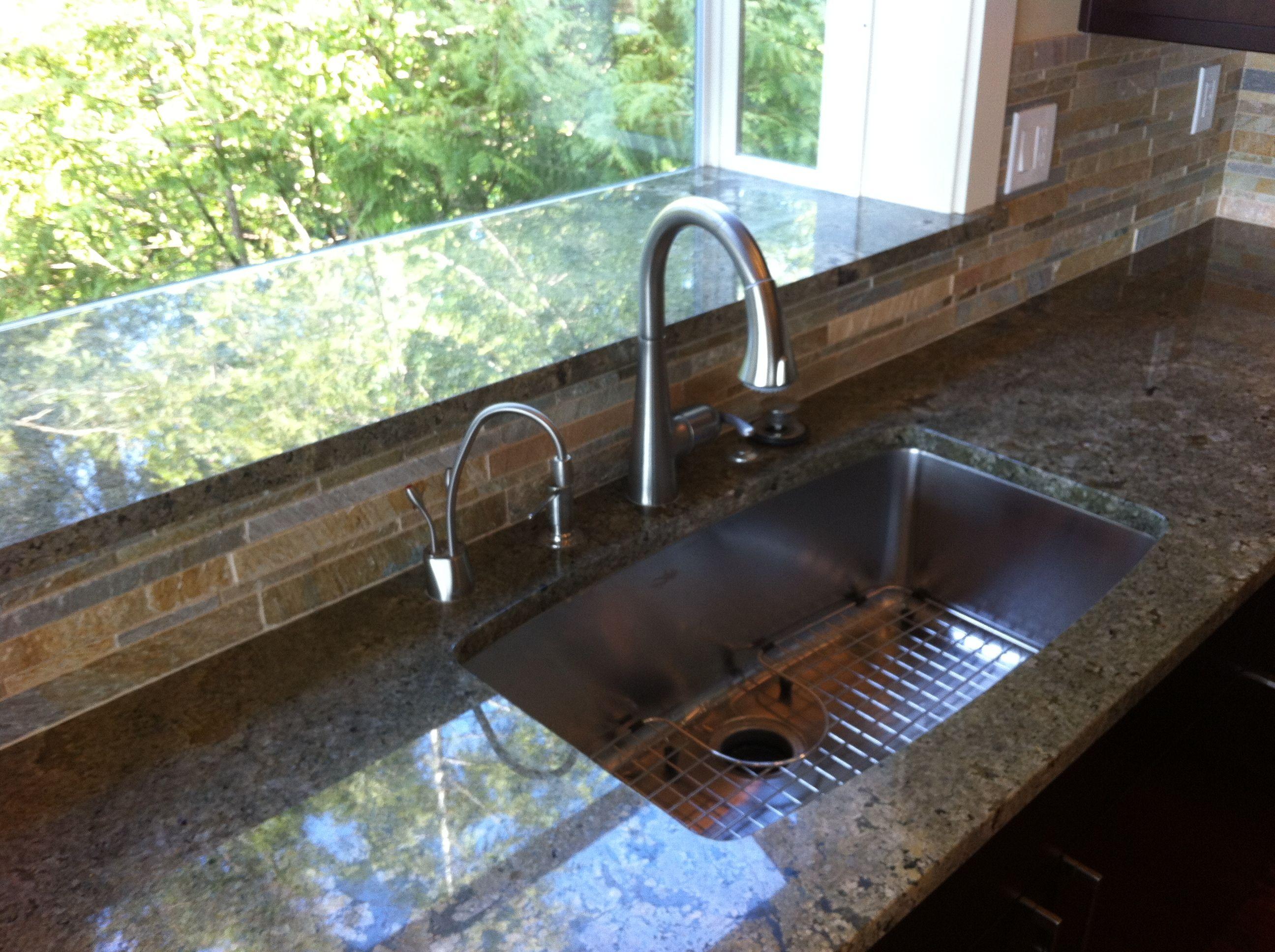 Seafoam Green Granite Countertop With Single Bowl Sink Granite Countertops Countertops Countertop Design