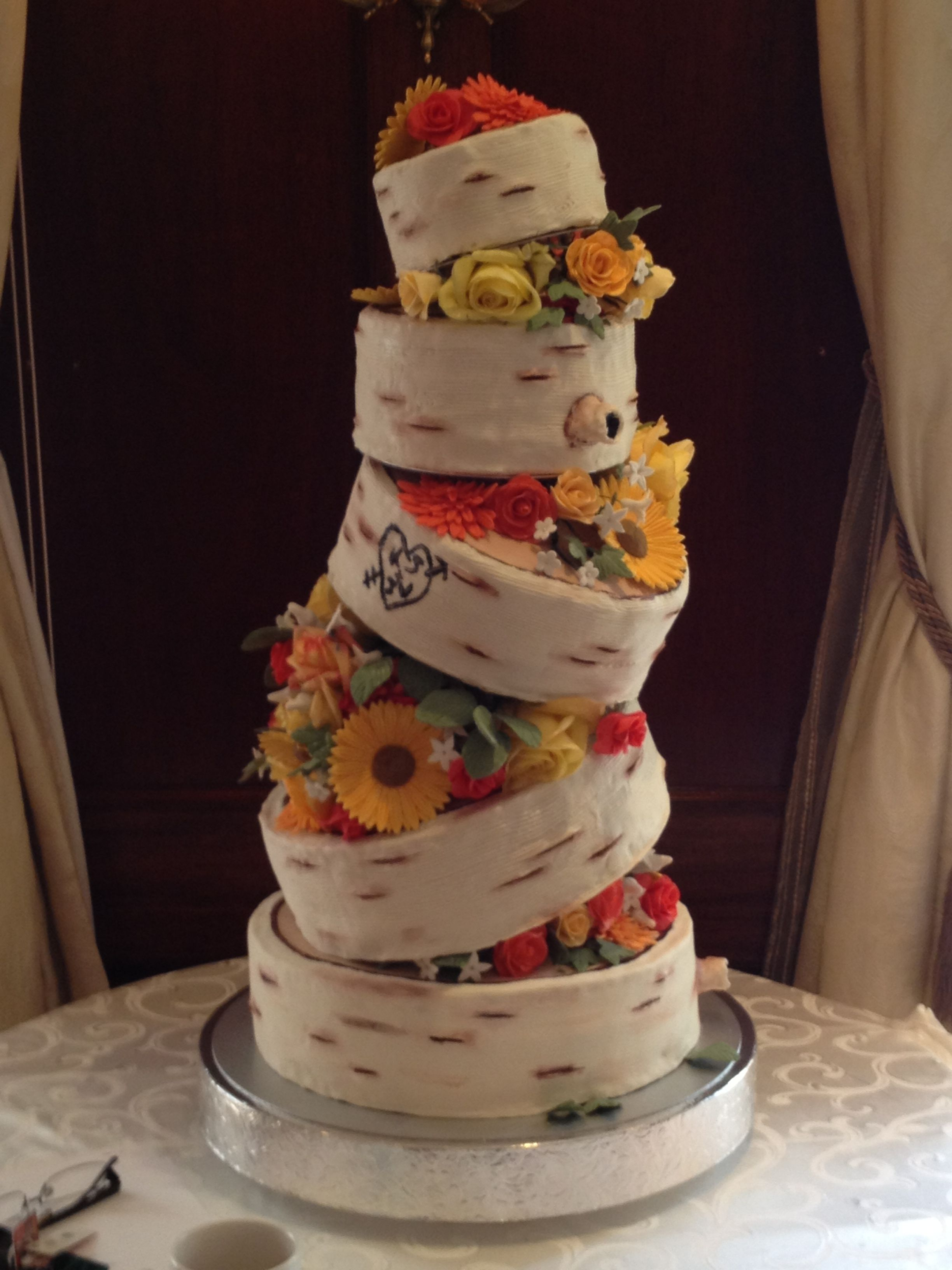 wedding cake, fondant, birch tree, red velvet, gum paste flowers ...