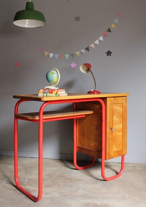 Bureau Vintage Instituteur C327 Table Et Chaise Enfant Mobilier De Salon Bureau Enfant